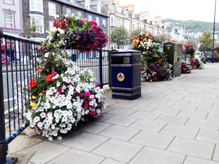 A flower display on North Parade